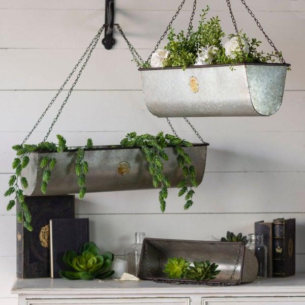 Medium Galvanized Metal Hanging Planter