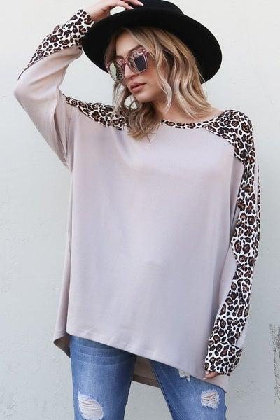 Leopard Color Block Long Sleeve Top