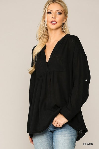 Textured Solid Woven Sleeve Tab Top