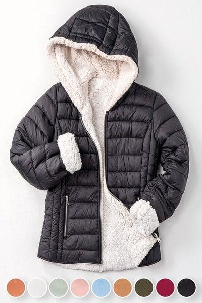 Sherpa Fleece Lined Puffer Jacket