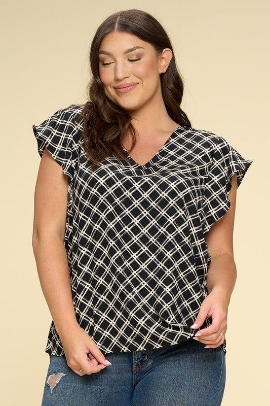 Ruffle Short Sleeve Woven Print Top