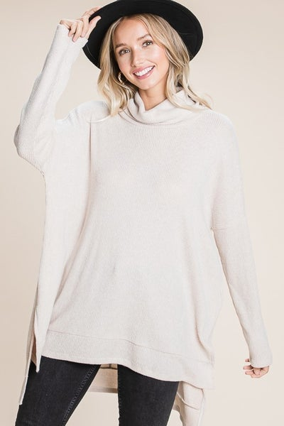 Oversized Ribbed Turtle Neck with Side Slits