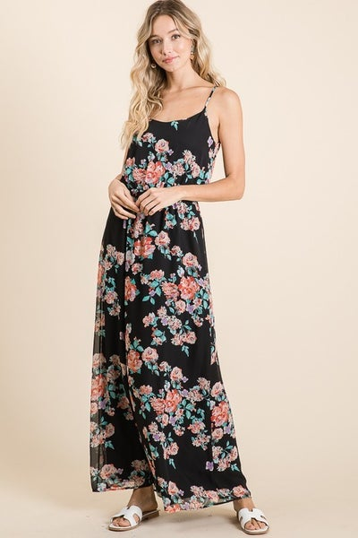 Floral print chiffon maxi dress featuring adjustable strap and elastic waist band