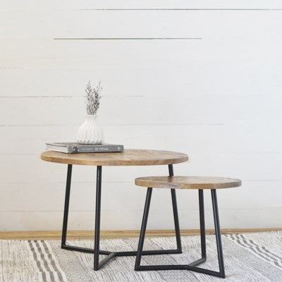SMALL RD. WOOD TABLE
