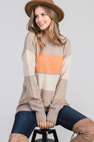 Color Block Sweater with Accent Colors