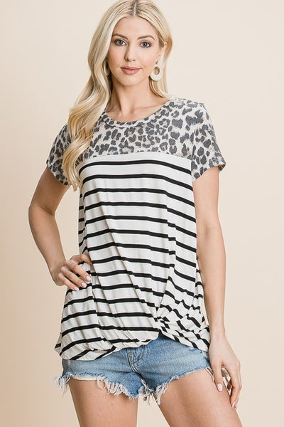 STRIPE KNIT TOP WITH LEOPARD CONTRAST DETAIL