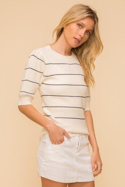 Puff Short Sleeve Pin Stripe Sweater