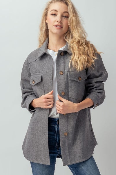 OVERSIZED FLANNEL FELTED SOLID SHIRT