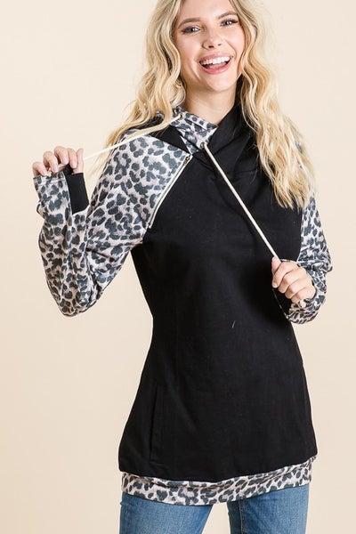 Leopard Print Double Hoodie Top