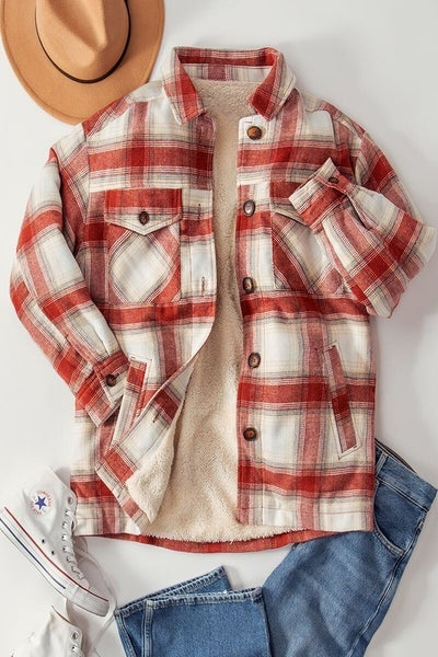 Checkered Sherpa Lined Oversized Button Jacket