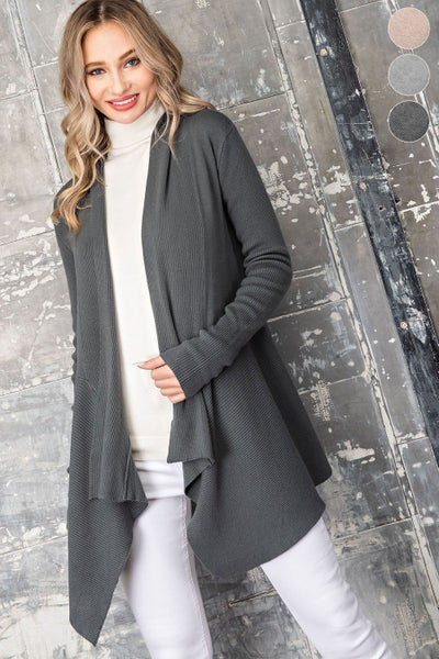 Charcoal Open Front Knit Cardigan