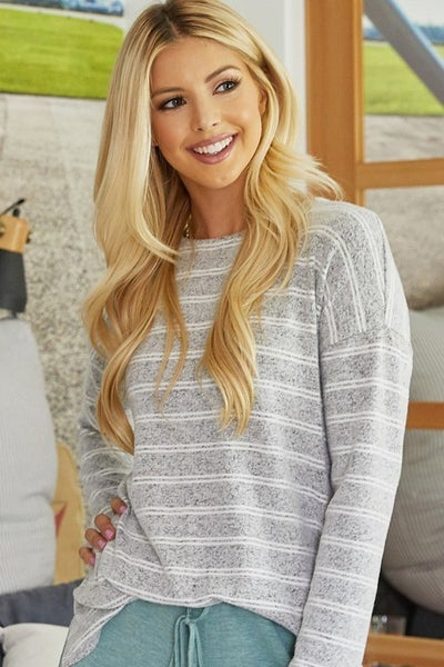 Brushed Knit Striped Sweater