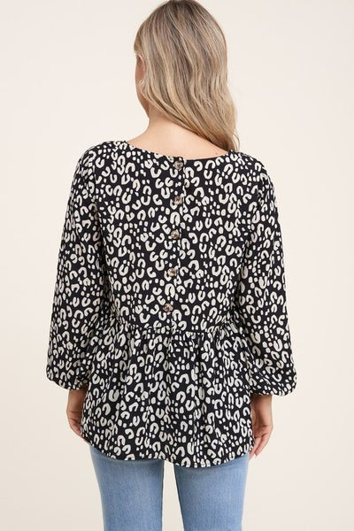 Round Neck Long Sleeve Baby Doll Button Down Back