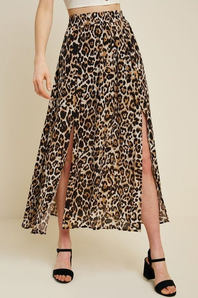 Leopard Double Slit Midi Skirt