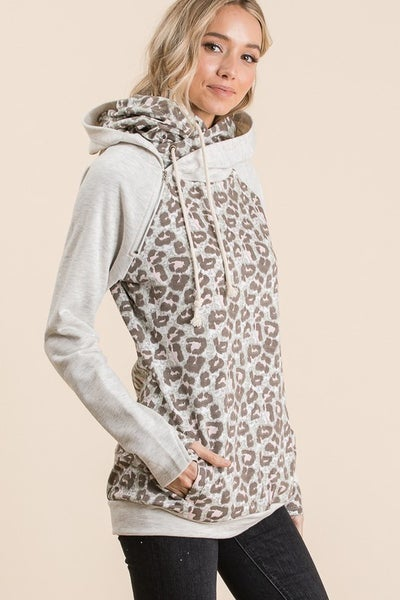 Leopard Color Block French Terry Hoodie Sweat Shirt with Zipper Neck and Hidden Thumb Holes.