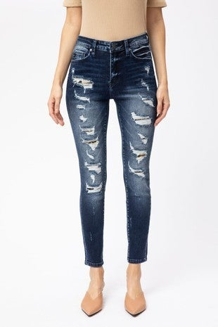 KanCan High Rise Distressed with Leopard Patch Skinny Jeans