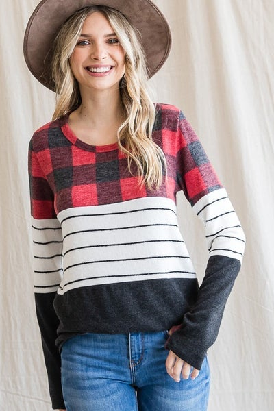Checkered and Striped Color Block Long Sleeve