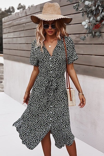 Short Sleeve Buttoned Floral Print Dress with Tie Front