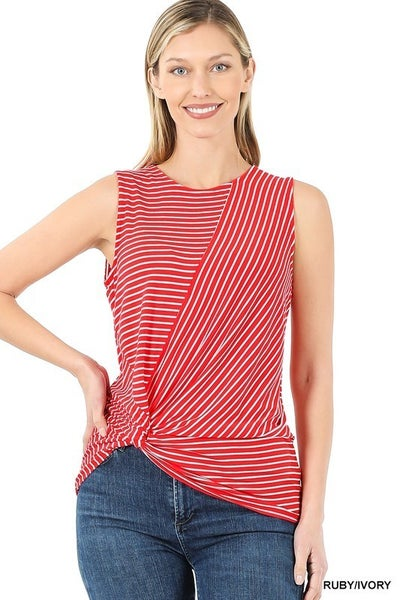 Stripped Knot-Front Sleeveless Top