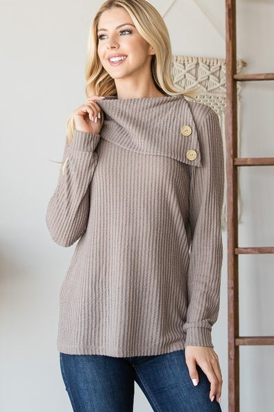 Buttoned Flap Neck Sweater