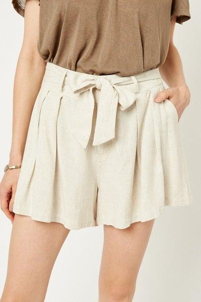 Linen Tie-Front Shorts
