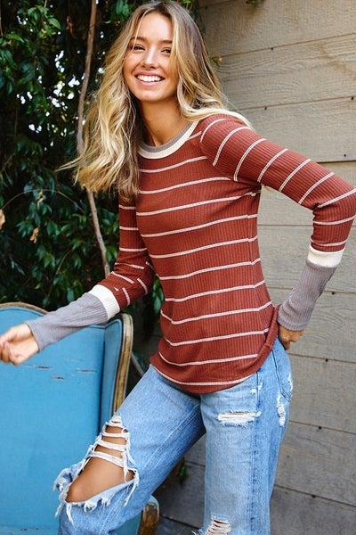 Color Blocked Striped Long Sleeve