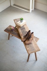 LARGE RECYCLED WOODEN BENCH