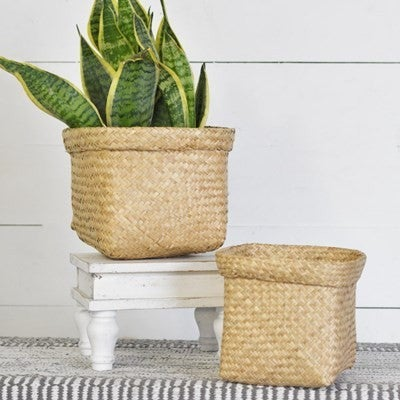 SMALL SEAGRASS HANDLE PLANTERS