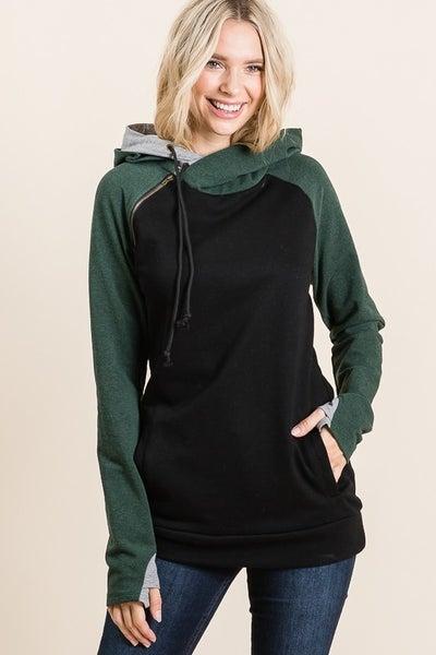Double Hoodie Knit Sweatshirt
