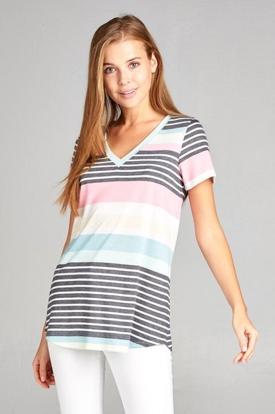 Multi-colored Stripe V-neck Shirt