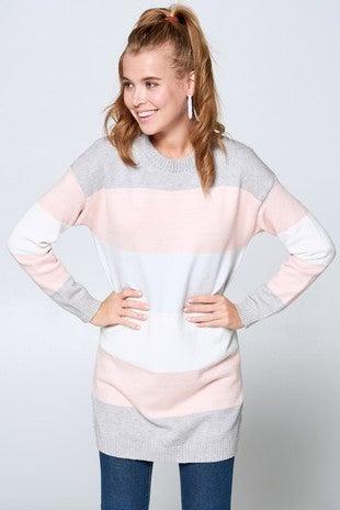 Color Block Sweater Tunic Dress