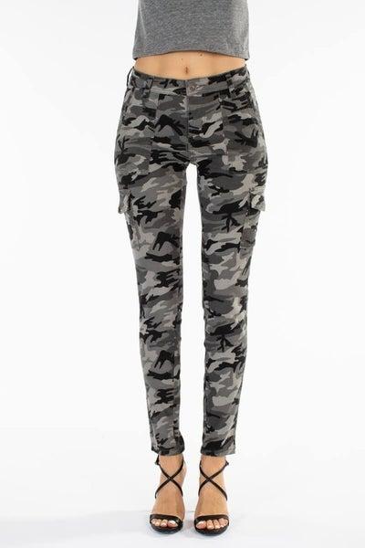 Nina High Rise Camo Skinny Cargo KanCan Pants
