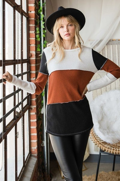 Colo Block Waffle Knit Top