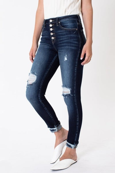 Kancan High Rise Button Down Cuffed Ankle Skinny