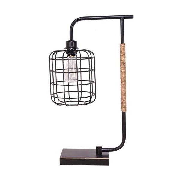 "METAL 22\"" TASK LAMP W/CAGE SHADE, BLACK"