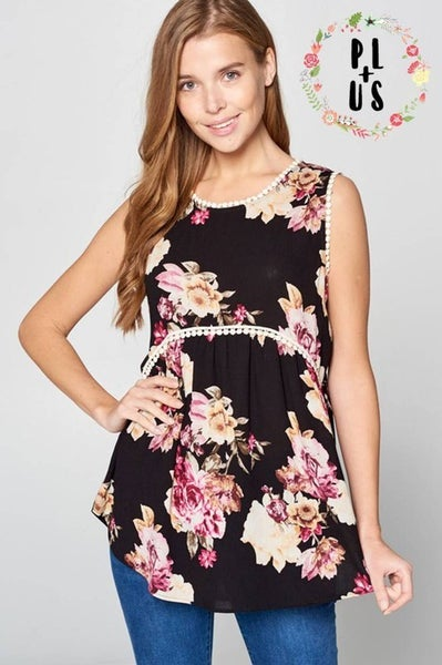 Floral Woven Tank with Pompom Trip