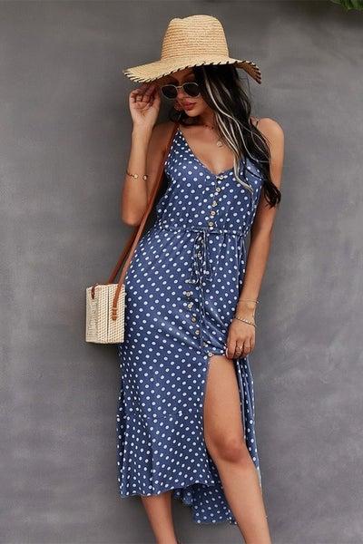 Buttoned Front Polka Dot Dress