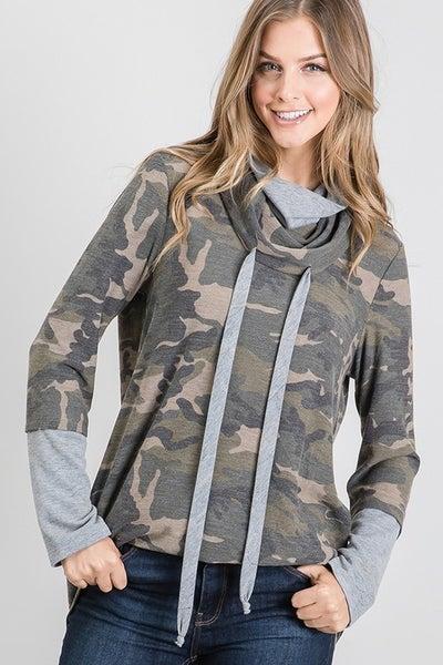 Camo Layered Cowl Neck Sweatshirt
