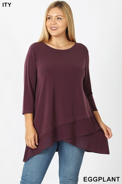 Front Overlap Chiffon Contrast Top