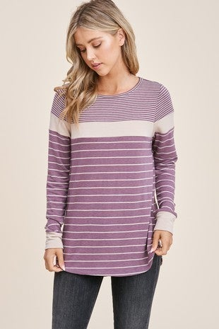 ROUND NECK, LONG SLEEVE, COLOR BLOCKED, STRIPE TERRY KNIT TOP