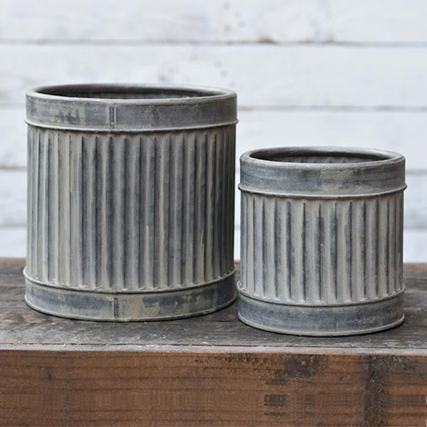 LARGE TIN RIBBED CANS