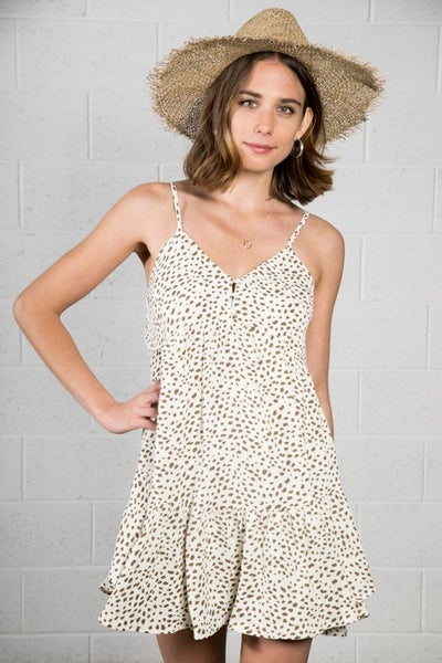 Leopard Print Tiered Ruffle A-line Dress