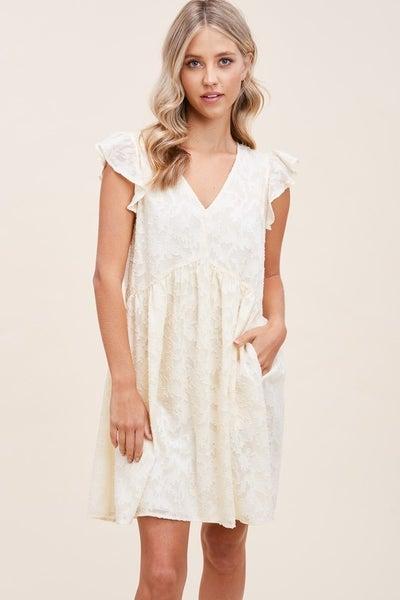 Cream Ruffle and Lace Dress