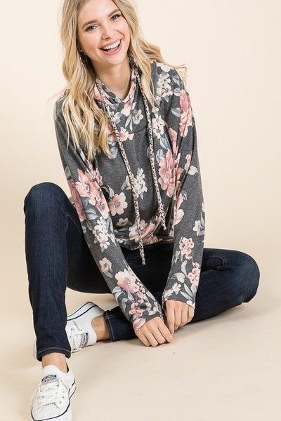Floral Print Knit Hoodie Top