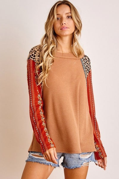 Mixed Print Contrast Sleeve Top