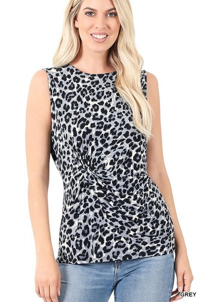 ITY LEOPARD PRINT KNOT-FRONT SLEEVELESS TOP