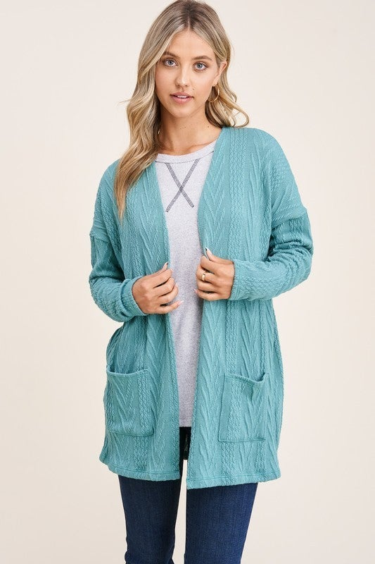 Jacquard Textured, Knit Cardigan