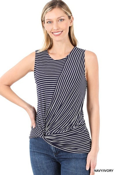 STRIPED KNOT-FRONT SLEEVELESS TOP
