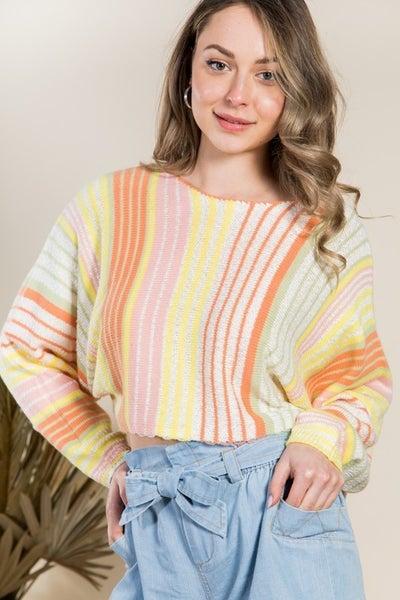 Multi-colored Stripe Knit Crop Top