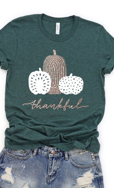 Rose Gold Shimmer Thankful Graphic Tee